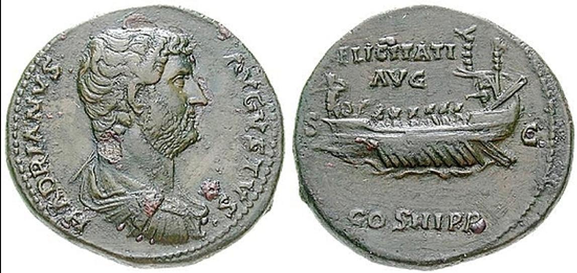 Münze mit Schiff